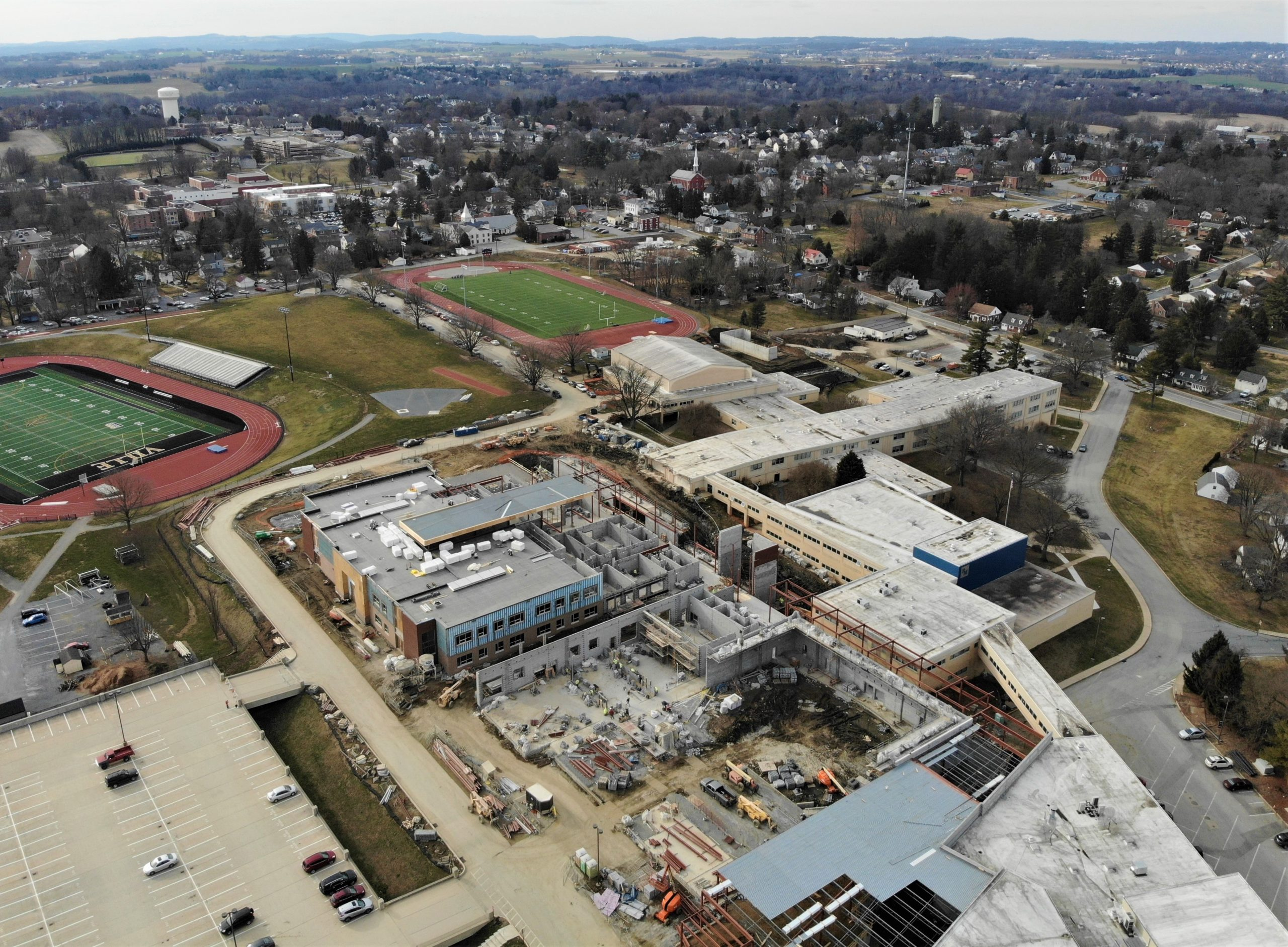 Aerial view of high school construction