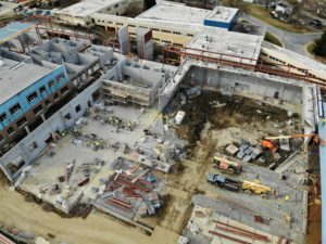 Aerial view of high school project
