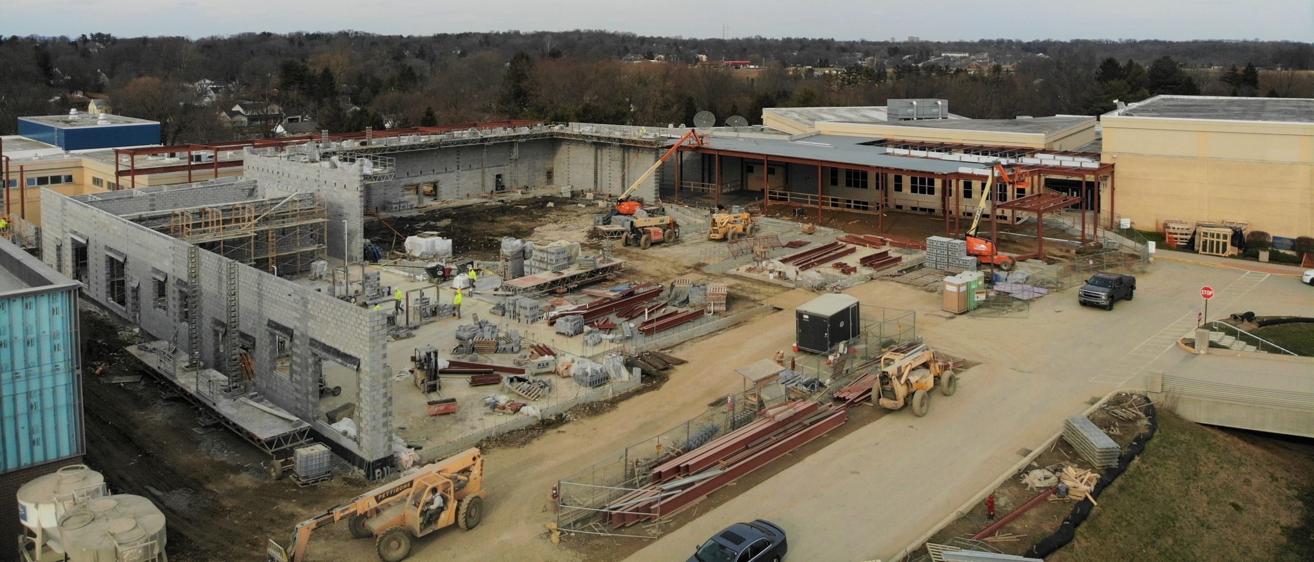 Aerial view of high school construction.