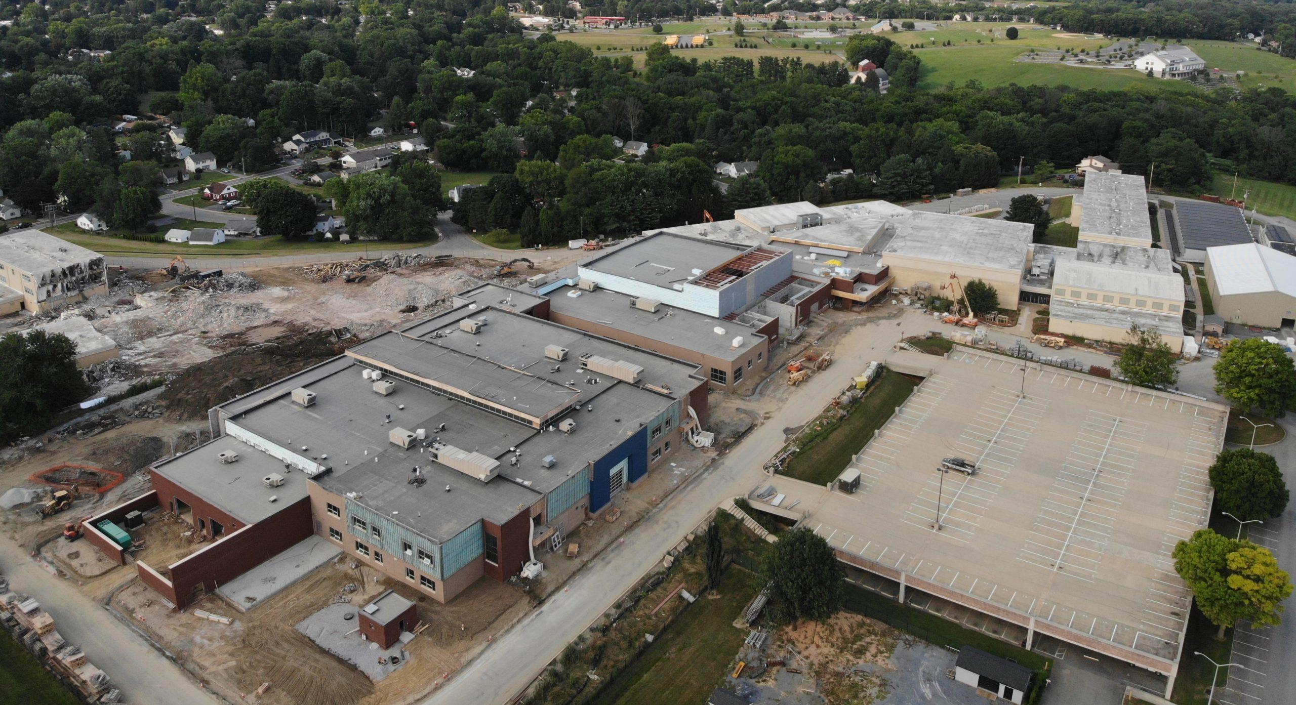 High school construction aerial shot