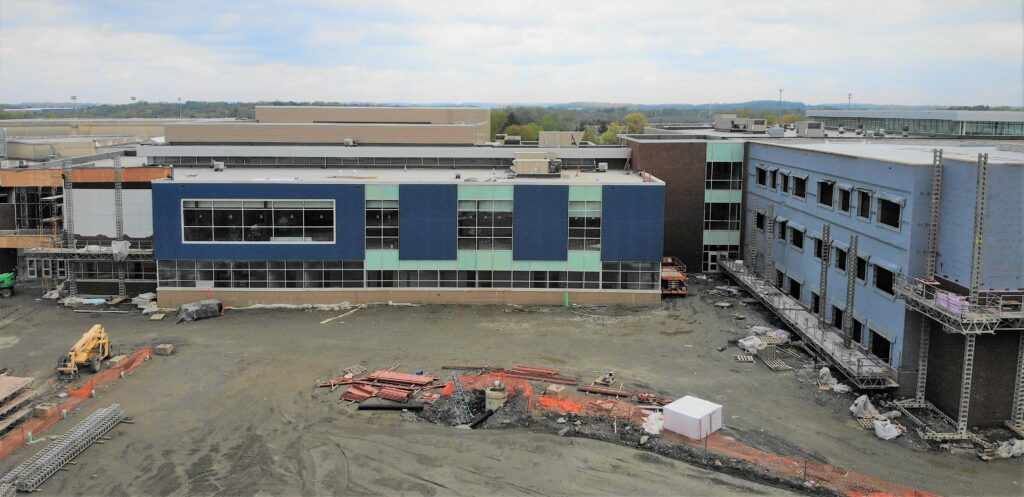 Aerial photo of high school construction